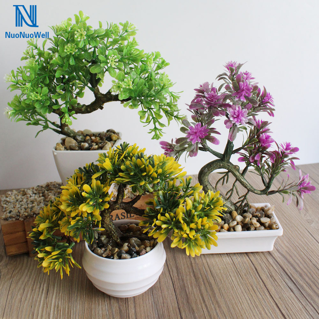 Office pot plants Living Room Nuonuowell Fake Potted Plants Artificial Plastic Bonsai Tree In Pot Artificial Plant Decoration For Office 1522cm Nuonuowell Fake Potted Plants Artificial Plastic Bonsai Tree In Pot
