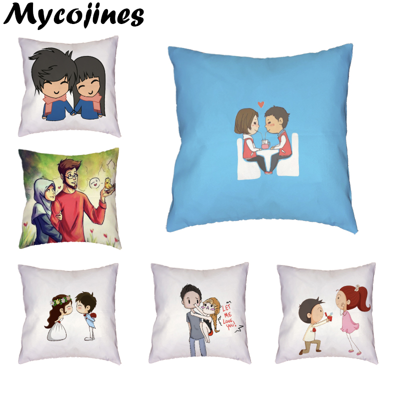 Nice Girl Boy Cushion Cover Valentine's Day Present Old