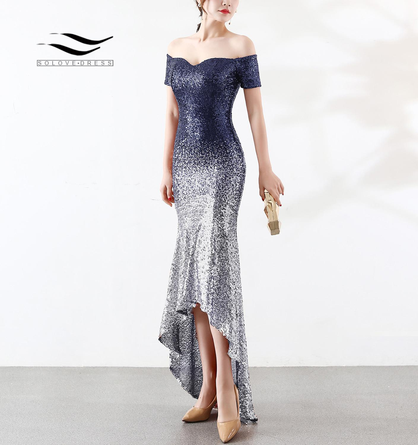 SOLOVEDRESS Sweetheart Gradient Color Sequin Cocktail Dress High-Low Off the Shoulder Party Dancing Dress Mermaid A Line C76