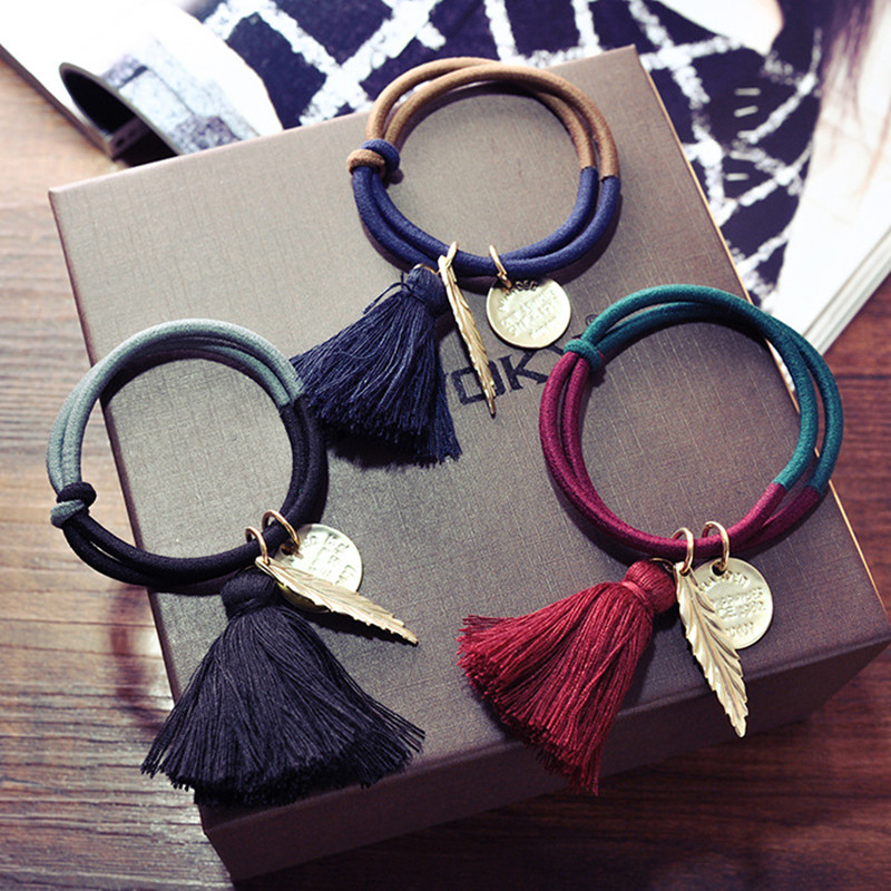 Vintage Fringed Leaves Hairband Elastic Hair Band For Female Women's Multiple Use Hair Ring Rope Hair Accessorie Bracelet