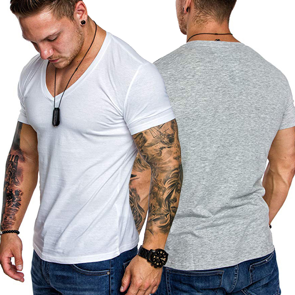 Men T-Shirt Short-Sleeve Slim-Fit Solid-Color Cotton Casual V-Neck Tee-Top Soft Trendy