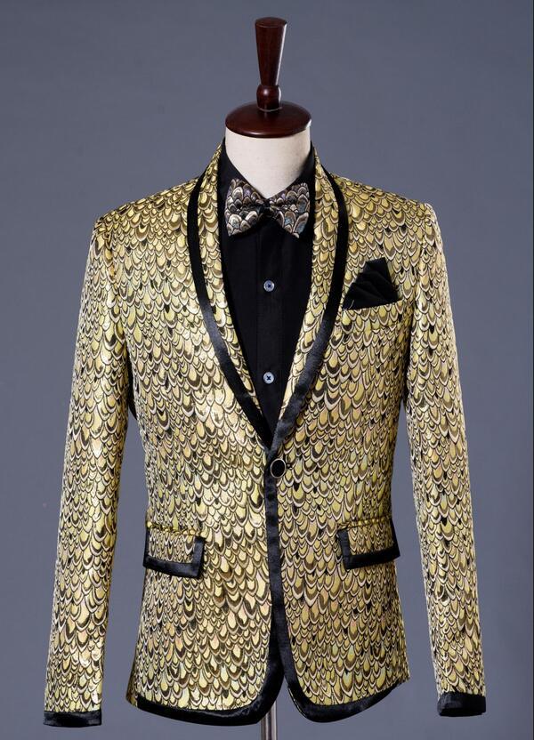 Gold Star Formal Dress Marriage Suits Blazer Slim Mens Blazers Set