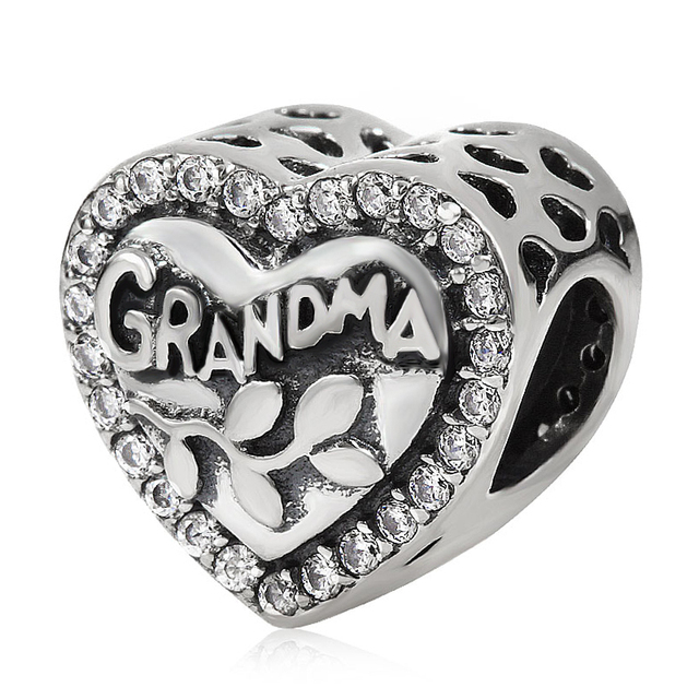 Mother S Day Gift 100 Authentic 925 Sterling Silver Grandma Heart Shape Charm Beads Fit For