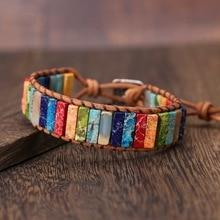Чакра браслет ювелирные изделия ручной работы Многоцветный натуральный камень трубки бусины Кожа обёрточная бумага Парные браслеты творческие подарки дропшиппинг
