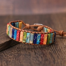 Chakra Bracelet Jewelry Handmade Multi Color Natural Stone Tube Beads Leather Wrap Couples Bracelets Creative Gifts Dropshipping chakra bracelet women men jewelry handmade multi color natural stone beads leather wrap bracelet couples bracelets dropshipping