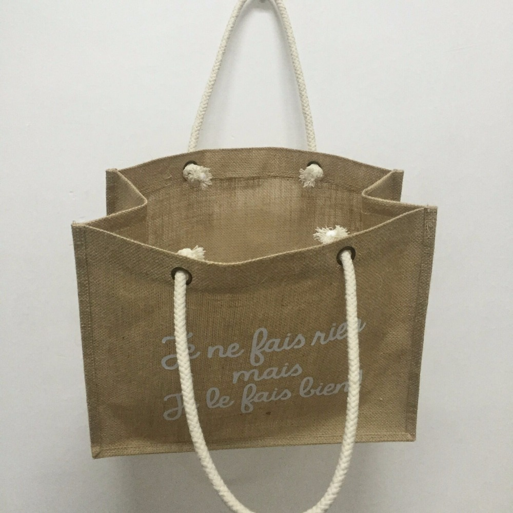 b32910f6fa Wholesale 1000pcs lot Reusable Jute tote shopping bags with logo Natural  Burlap bags hessian bags Custom Size and printing logo-in Shopping Bags  from ...