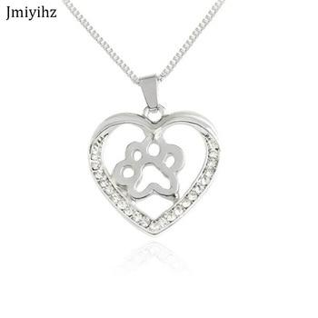 4b95c04a776e Jmiyhz moda mujeres corazón cristal Neckalce Hallow perro pata colgante  caja collar de cadena de plata joyería femenina regalo de cumpleaños