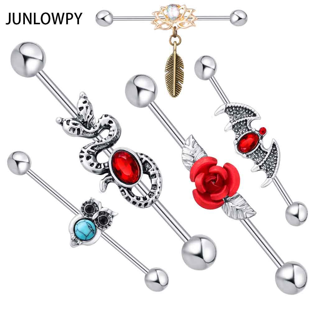 JUNLOWPY 2pcs 14G Vintage Snake Bat Industrial-Piercing Barbell Stud Ear Ring Piercing Scaffold Ear Bar Long Helix Punk Earring