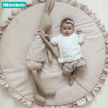 Medoboo Newborn Baby Game Mat Pad Blanket Solid Color Children Baby Play Crawling Mats Kids Game Rugs Round Floor Carpet 35 infant shining baby play mat children folding game carpet kids crawling mats anti skid tatami rugs cotton blanket for children