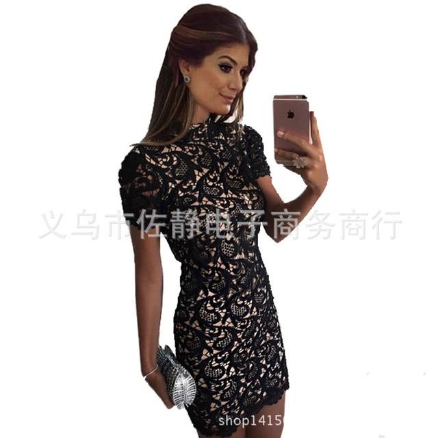 8c6b77144e27 Amazon 2016 nuovo arriva esplosione delle donne aliexpress abito di pizzo  nero sexy sottile del vestito