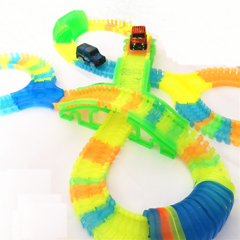 240pcs full Bend Flexible Curve Slot DIY Track Toy Car Set with Glow in dark Track LED light Racing Car Toys for children kids