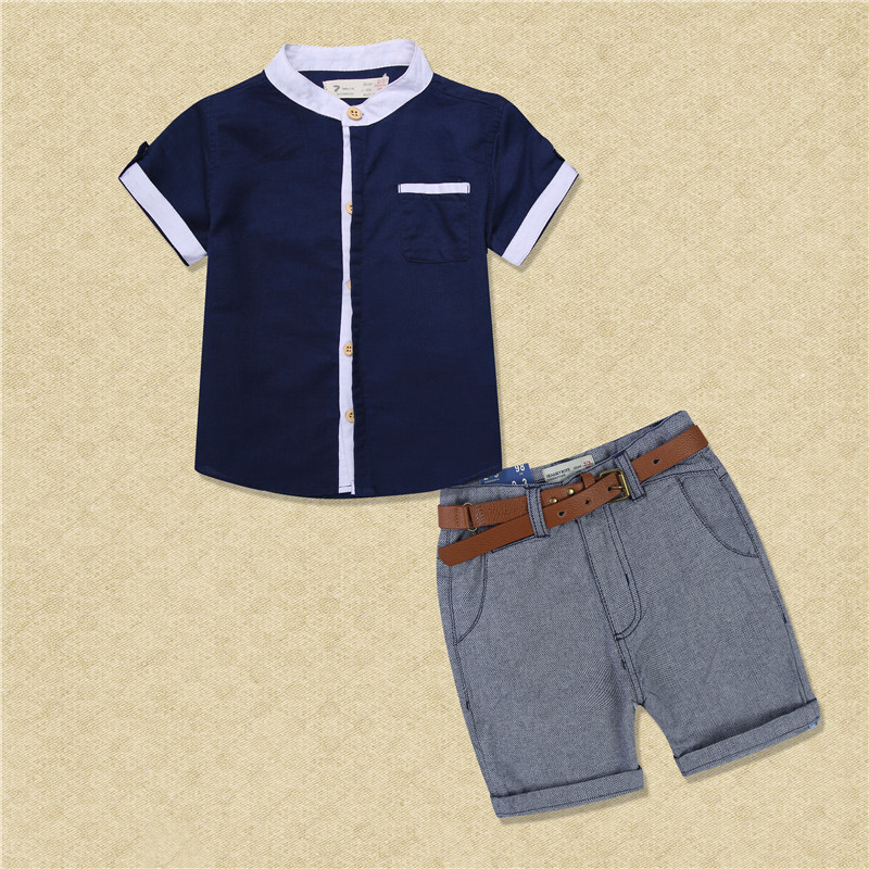 Boys Summer Casual Clothes Set Children removable denim lapel T-shirt + jeans Short Pants Suits 2016 boys Clothing Sets for Kids