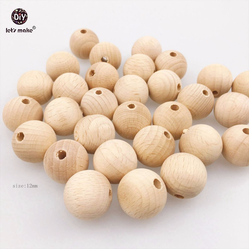 Let's Make Beech Wooden Teething Natural Beads Round Necklace 12mm 100pcs Chew Unfinished DIY Bracelet Food Grade Baby Teether