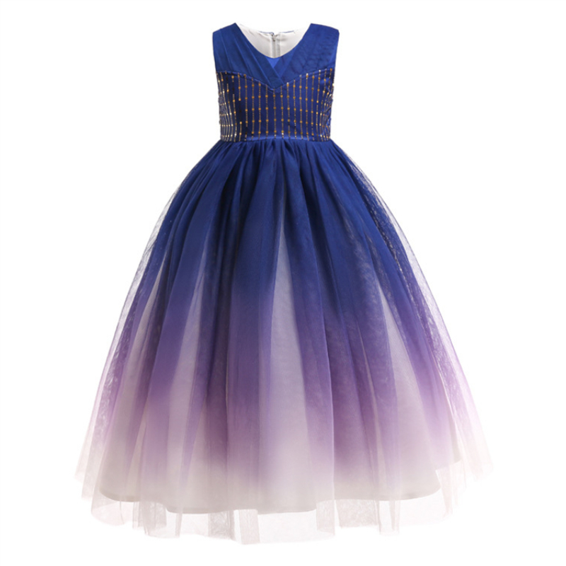 Kids Sequins High end Children's Long Gown Flower Girl Color Gradient Dress for Wedding Bridesmaids Party Costume Teenager Prom