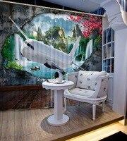 Rideau 3D magnifique mur grotte 3D personnalisé | Paysage d'avion  ombrage de fenêtre  rideaux de rideaux pour salon