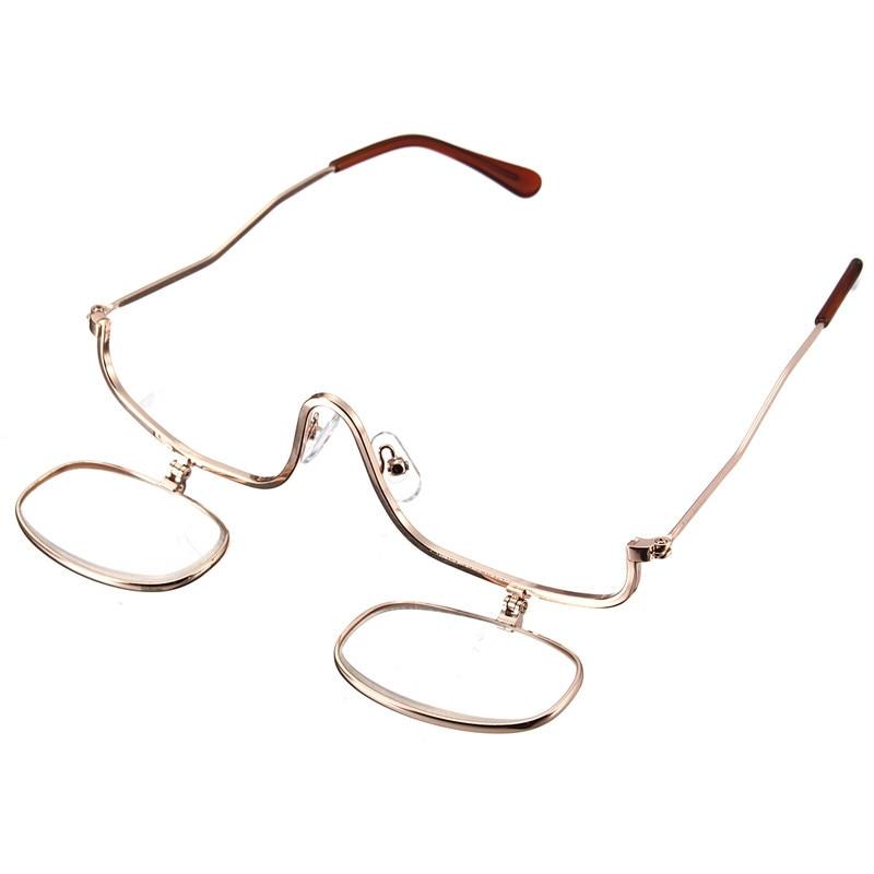 Frauen Einstellbare Flip Unten 3x Vergrößerungs Dual 2 Objektiv Make-up Brille Kosmetik Gläser Make-up Vergrößerungs Brille Dioptrien 1-4 A1 QualitäTswaren Damenbrillen Lesebrillen