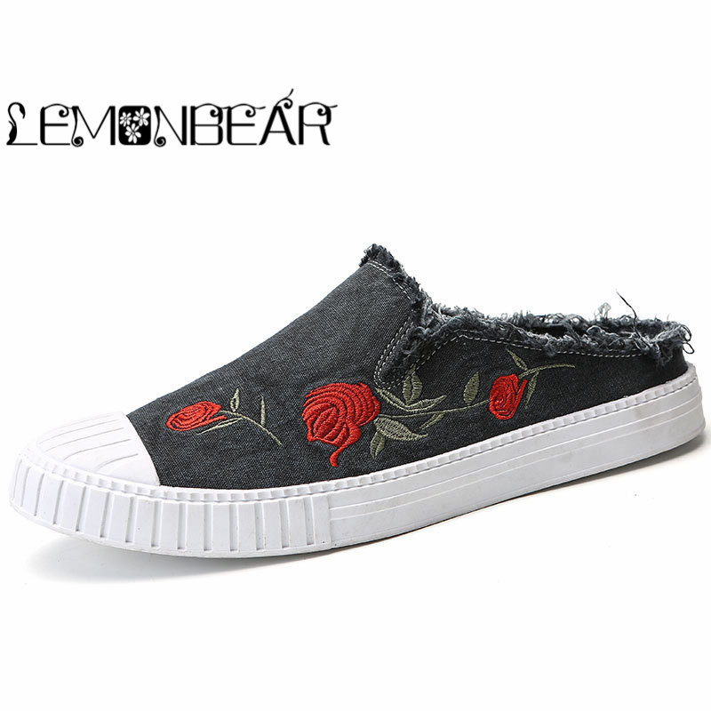 Men Canvas Loafers Flower Casual-Shoes Slip-On Autumn Breathable Fashion Roses Not-Included-Driving-Shoe