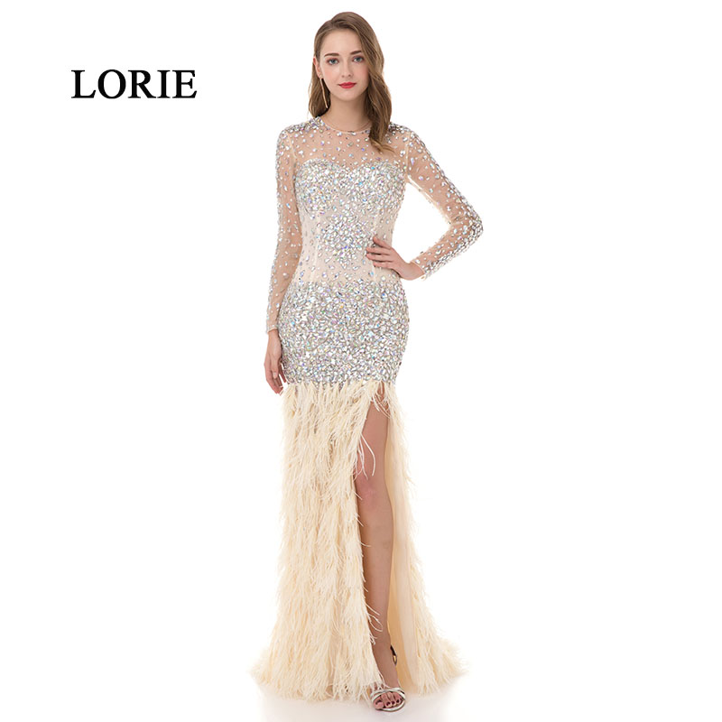 LORIE Luxury Prom Dress Evening Dress with Crystals Mermaid Long SLeeve See Through Beaded Ostrich Feather