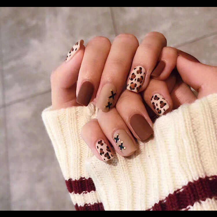 24pieces Hot Sale Leopard Print Frosted 3D Fashion Sexy Style Long Nail Art Fake false Sticker for Nails Tips With Free Glue