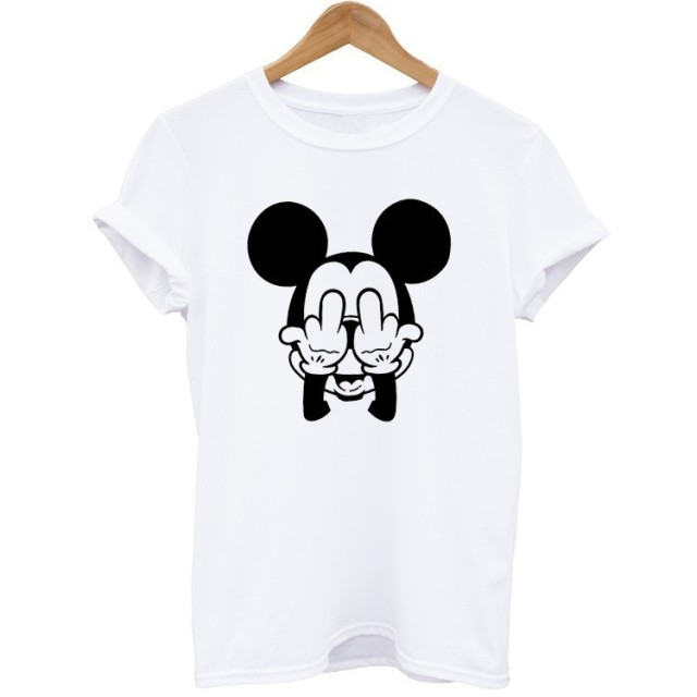 Summer T-shirt 100% Cotton  Female New Arrival Short Sleeve Cartoon Mouse Printed T Shirts Women O Neck Tops Tee Fashion Style
