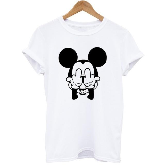 T-shirt do verão 100% Algodão Nova Chegada Do Sexo Feminino Dos Desenhos Animados Manga Curta rato Impresso Camiseta Mulheres O Pescoço Tops T Da Forma estilo