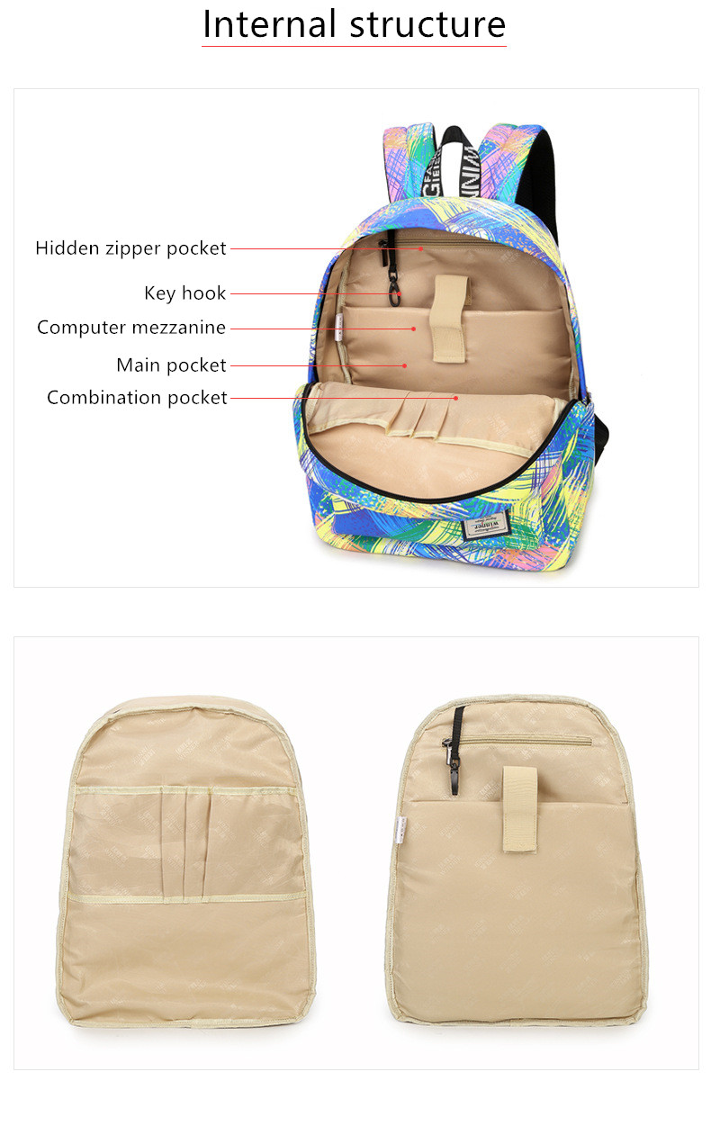 Fashion Women Waterproof Backpack School Bag Personality Printing Large  Capacity Girls Knapsack Back Packs Travelling Bags - us518 9b7c137481e