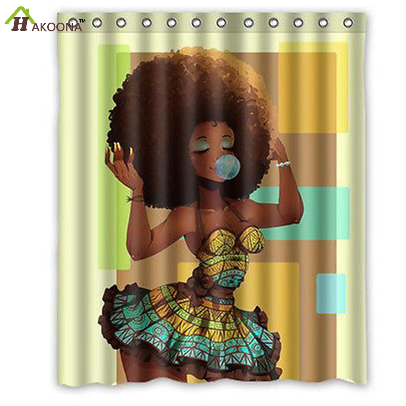 HAKOONA Waterproof Big Hair African Women Blowing Bubble Gum 3D Printed Shower Curtain Polyester Fabric Bathroom Products