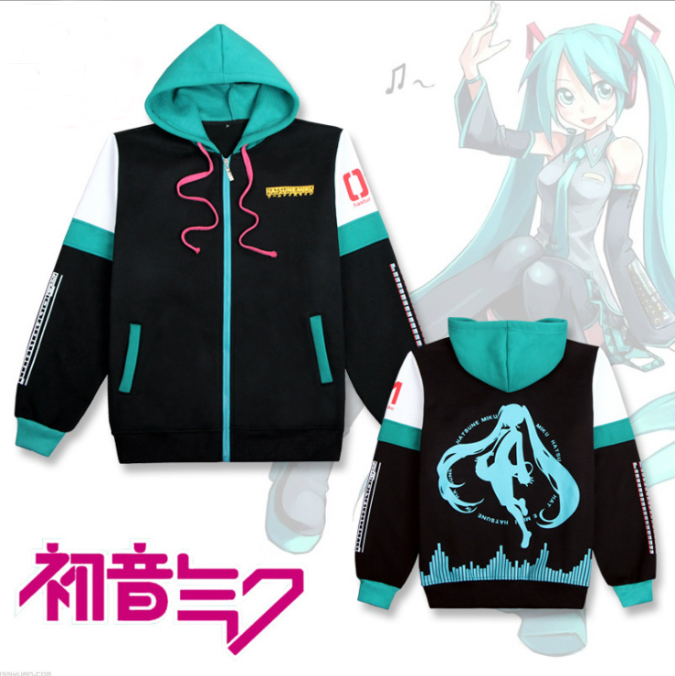 VOCALOID Hatsune Miku Hoodie Cosplay Costume Long Sleeve Cardigan Hooded Fleeces Thicken Jacket Daily Casual  Sweatshirts