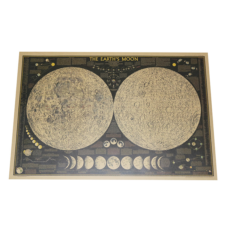 Moon Map 2 Pcs 72.5*48cm Retro Moon Surface Topographic Map Poster Wall Stickers Wallpapers Home Decor Interior Decoration
