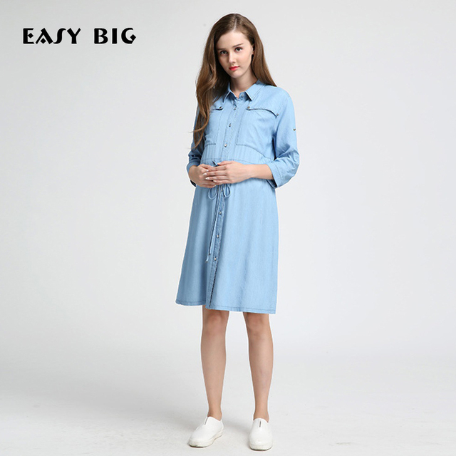1fa973df192ab EASY BIG 2017 Spring Autumn Classic Slim Maternity Jean Dresses Loose  Clothes For Pregnant Women Pregnancy Clothing MC0010