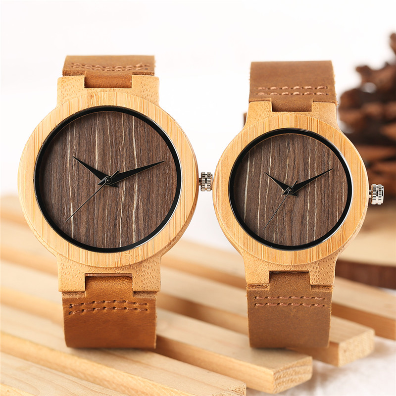 2018 Vintage Coffee Dial Bamboo Men's Watch Natural Wood Analog Quartz Women Dress Clock Genuine Leather Lovers Valentine Gifts classic style natural bamboo wood watches analog ladies womens quartz watch simple genuine leather relojes mujer marca de lujo