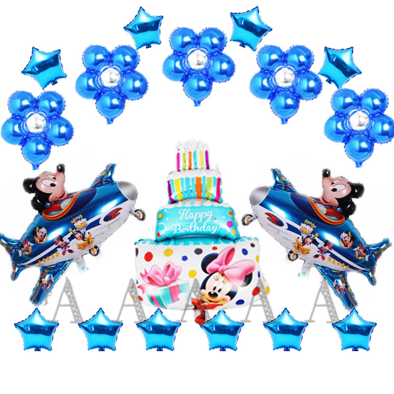 18pcs mickey plane air balloons cartoon minnie mickey mouse birthday balloons set cake star flower for party ballons