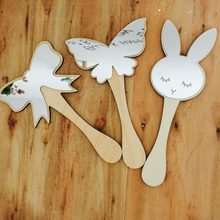Cosmetic Mirror Make Up Bowknot Wood For Kids Girls Toy Model Creative Baby Room Articles