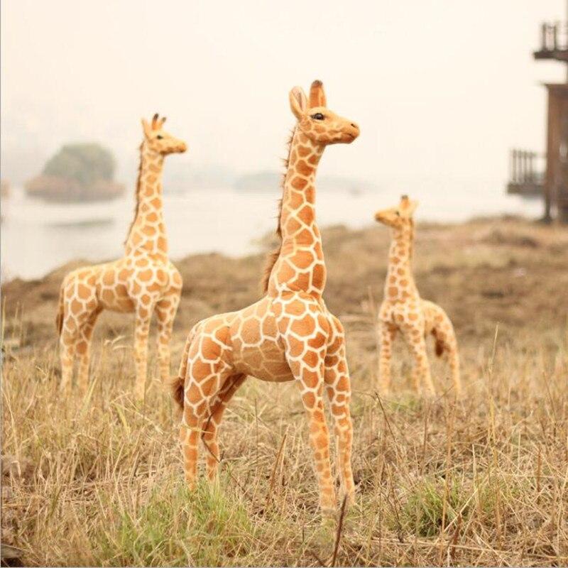95 cm vraie vie Animal girafe en peluche jouet Animal Kawaii grande peluche nouvel an décor jouets pour garçons enfants jouets Juguetes Brinquedos