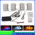 Auo 4X88-LED Amber Warning Caution Police Emergency Flasher Strobe Lights W/Mounting Bracket + Control Module Set  For Car Truck