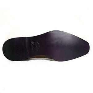 Image 5 - cie Free Shipping Handmade Genuine Calf Leather Mens Dress/Classic Derby Color Brown Patina Square Toe Italian shape Shoe NoD43