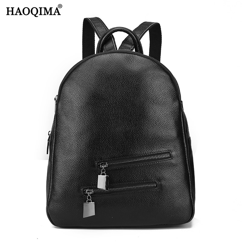 HAOQIMA Genuine Leather Luxury Brand New Design 2017 Real Cowhide Women Backpack Girl School Bag