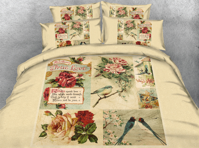 JF 255 Classical painting style 4pcs bird and flower housse de ...