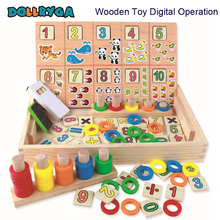 DOLLRYAG Montessori Wooden Math Kids Toys For Children Cartoon Animals Preschool Digital operation Early Learning