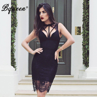Bqueen Sexy Lace Hollow Out Knee Length Summer Women Bandage Dress O Neck Backless Solid Sleeveless