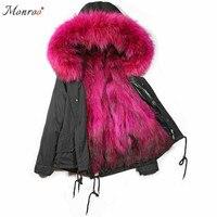 Для женщин зима естественно большой меховой воротник капюшон Меховая Куртка парка пальто дамы реального енот лиса Меховая подкладка куртк