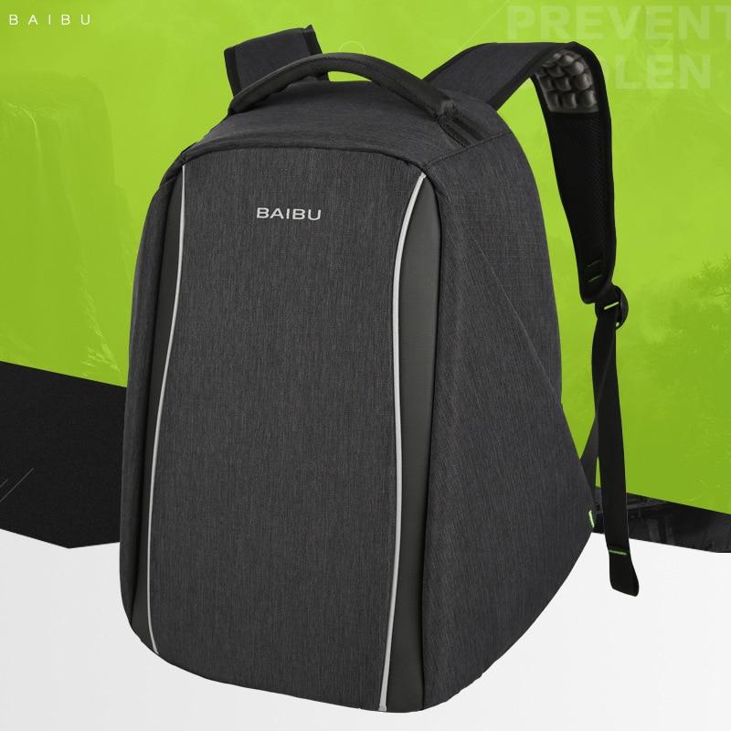 BAIBU External USB Charge Backpack Male Mochila 15.6Inch Laptop Backpack For Teenager Fashion School Bag Leisure Travel backpack цена 2017