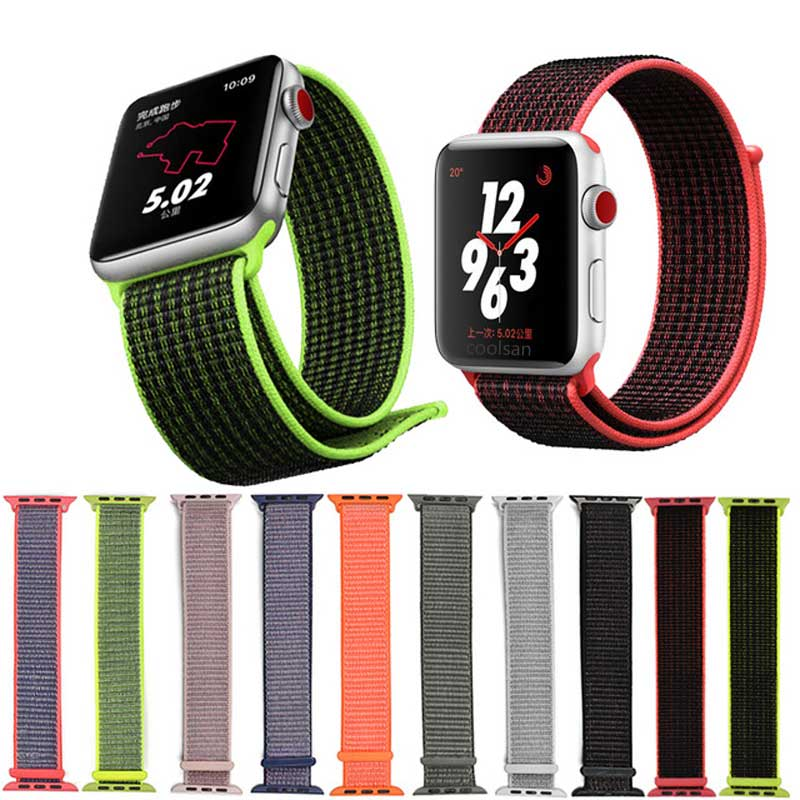 Nylon Loop Watch Strap For Apple Watch Band 42mm 38mm Iwatch 4 3 2 Watchbands Wristband Adapter 44mm 40mm Weave Sport Loop Strap