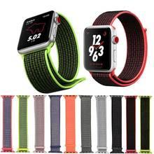 купить Nylon loop watch strap for Apple watch band 42mm 38mm iwatch 4 3 2 Watchbands Wristband adapter 44mm 40mm weave sport loop strap по цене 231.47 рублей