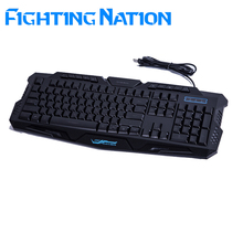 Fighting Nation Russian backlit gaming keyboard gamer led backlight 3color breathing switchable light wired USB for computer mac