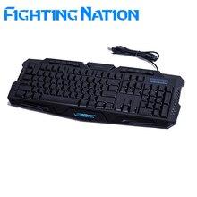 Combate a Nação Russa backlit teclado gamer gaming iluminar led backlight 3 cores comutável luz USB com fio de computador mac