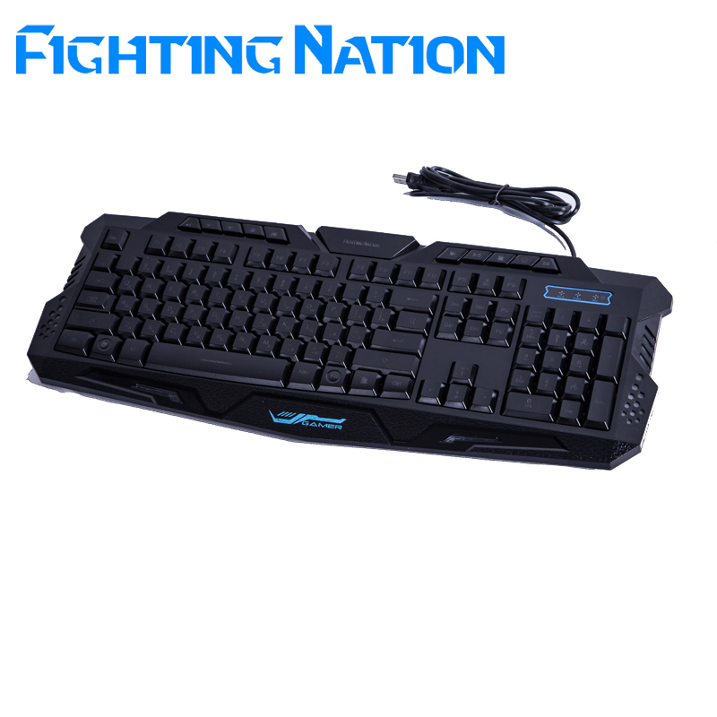 Fighting Nation Russian backlit gaming illuminate keyboard gamer led backlight 3 color switchable light wired font