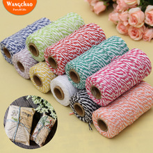 100M Double Color Cotton Rope Wedding Baby Shower Party Gifts Decoration Happy Birthday Valentines Day Gift DIY Packing