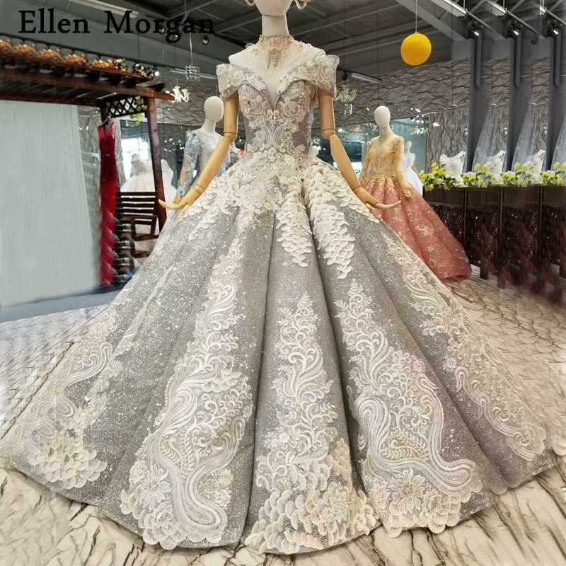 8dcb6c36e1ac2 Silver Glitter Lace Ball Gowns Wedding Dresses for Women Floor Length  Princess Corset Off Shoulder Bridal Gowns 2019