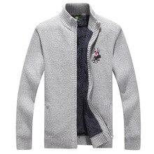 ICPANS Mens Sweaters Winter 2019 Warm Thick Velvet Sweatercoat Casual Cardigan Men Pattern Knitwear 3XL